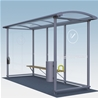 Light Smoking shelter Standard, 3-sections with ashtray and litter bin