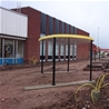 Installation of Palette Plaza with posts, Oskarshamn